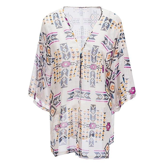 Beauty7 Blusón Blusa Falda Camisas Mujeres Faldas Playa Imprime la Rebeca Protección Solar Bikini Cubrir Vacaciones