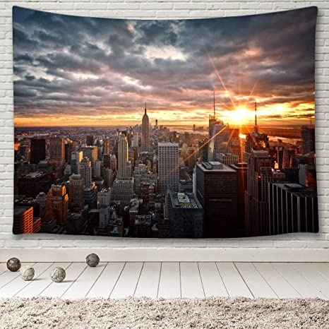 Minako New York City At Sunset Tapestry Wall Hanging Usa Cityscape Decor Nyc Panorama Aerial View Of Urban Skyscrapers Empire State Building Midtown Manhattan Skyline Tapestry Wall Art Blanket 80 X60 Everything Else