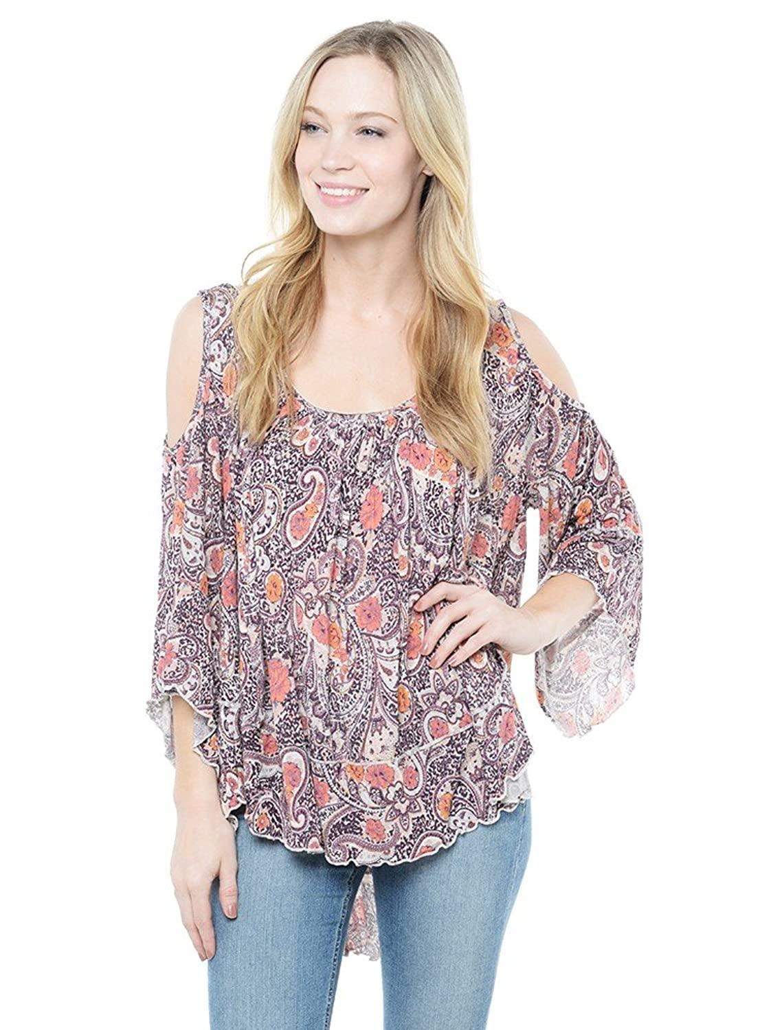 Free People Women's Paisley Cold Shoulder Pullover Top Tea Combo Size Large