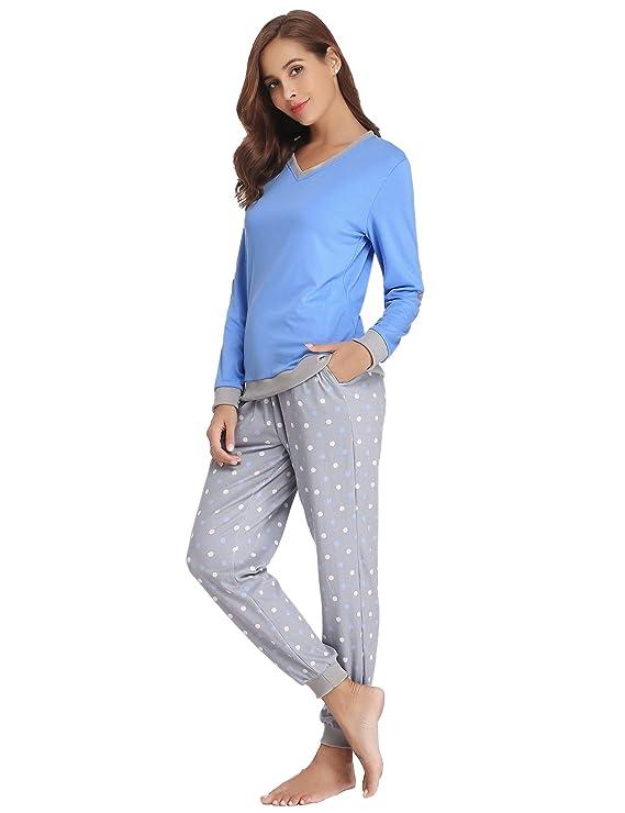 Hawiton Pijama Mujer Invierno Algodon Mangas Largas Pantalones Largo 2 Piezas: Amazon.es: Ropa y accesorios