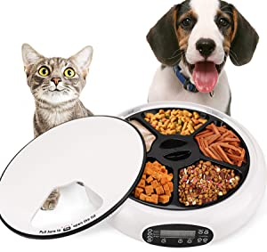 Automatic Feeder Cat Dogs Pet Timed Feed 5 Meal Trays Dry Wet Food Dispenser with Voice Remind LCD Smart Programmable Self Feeder (White) (White)