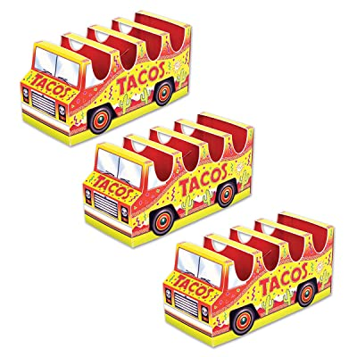 "Beistle 53394 3-D Taco Truck Centerpiece, 5"" x 10½"", Yellow and Red: Kitchen & Dining"