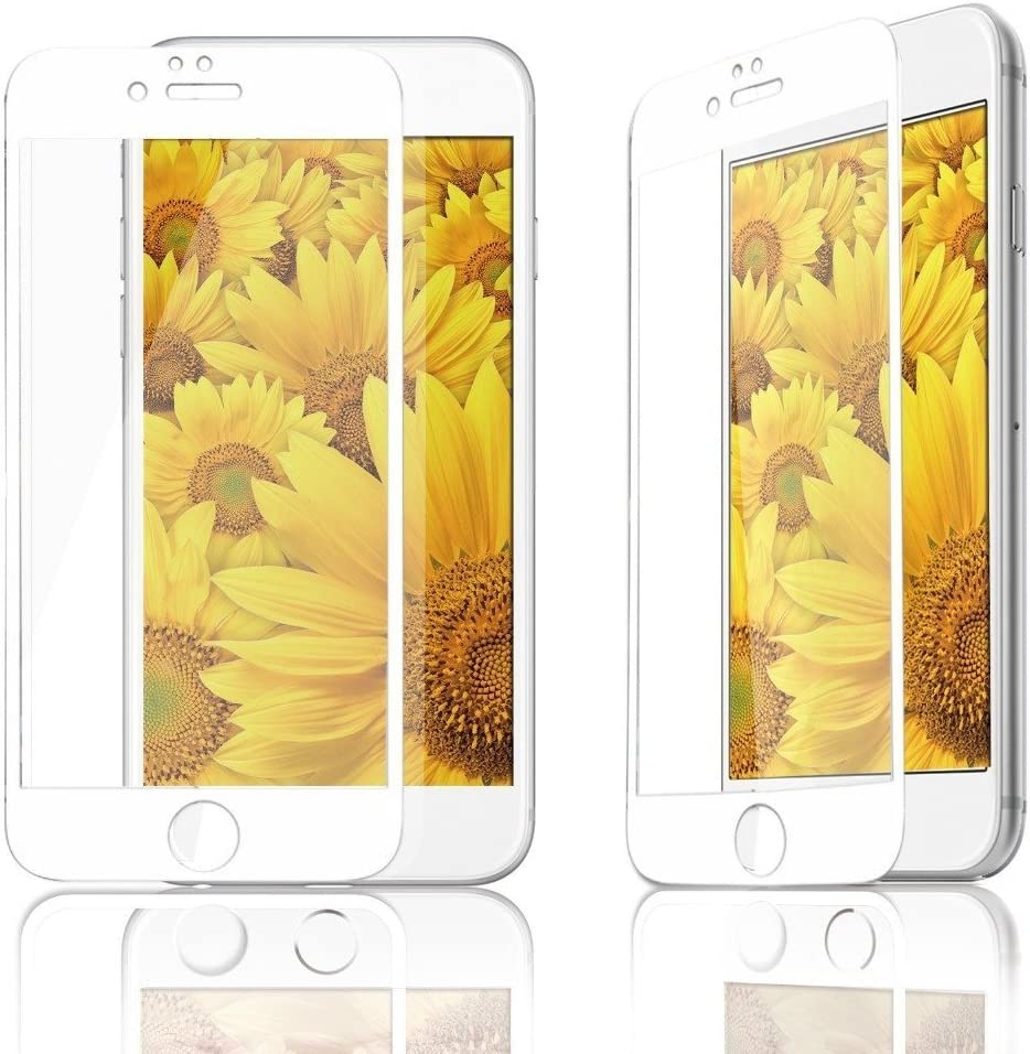 Miraj International LLC 0.26mm Premium Full Cover Real Tempered Glass Protective Film For iPhone X 8 5 5S SE 5C 6 6S 7 7S Plus (White/For iPhone X)