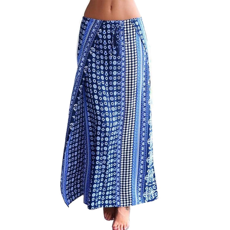 MIOIM® Damen Rock Lang Röcke Skirt Vintage Seite Schlitz Sommerkleid A-linien Retro Cocktail Party Maxi Kleider Strandkleid
