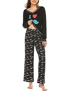 Schlafanzug Damen Lang Winter Pyjama Set Zweiteiliger Sleepwear Langarm Nachtw/äsche Lang Hausanzug mit Karierte Hose f/ür Frauen