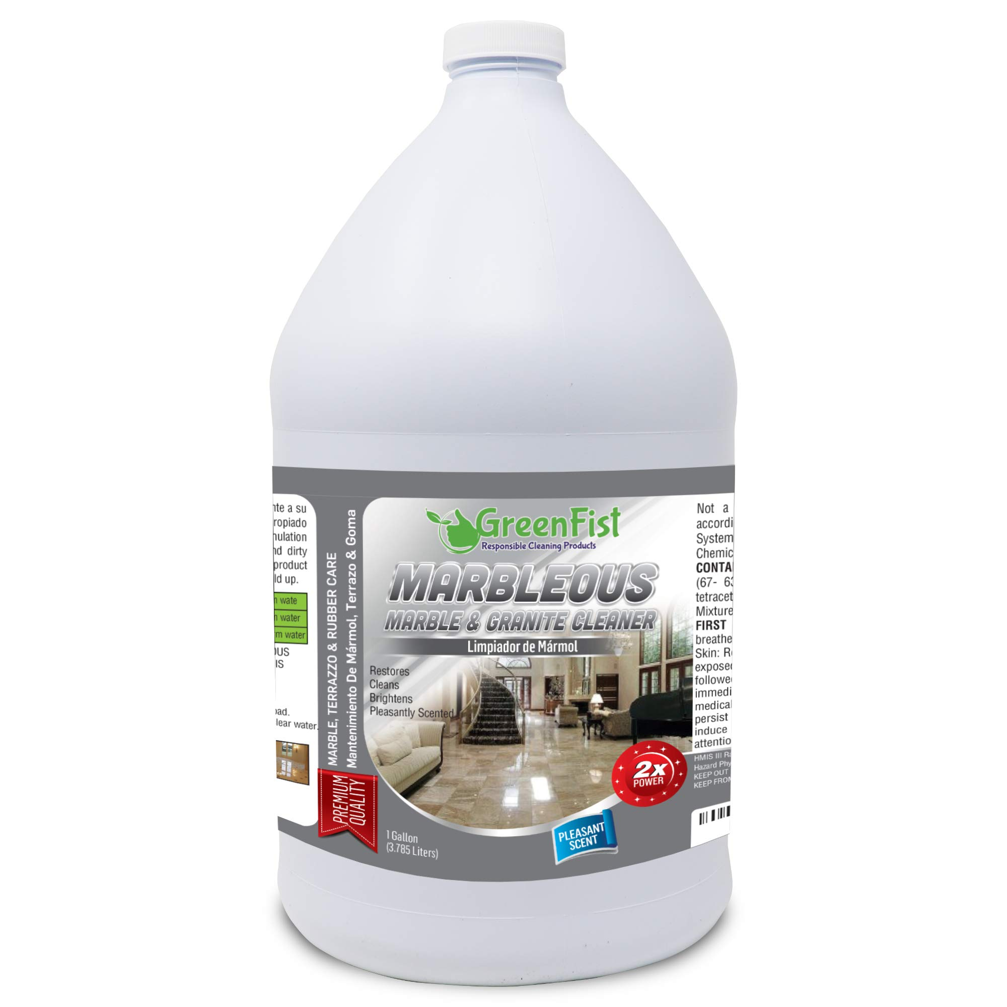 GreenFist Marbleous Marble Cleaner and Other Stone Surfaces Brightener & Restorer [Tile,Countertop,Porcelain,Lime-Stone,Ceramic,Granite,Brick,Vinyl] (1 Gallon) by GreenFist (Image #1)