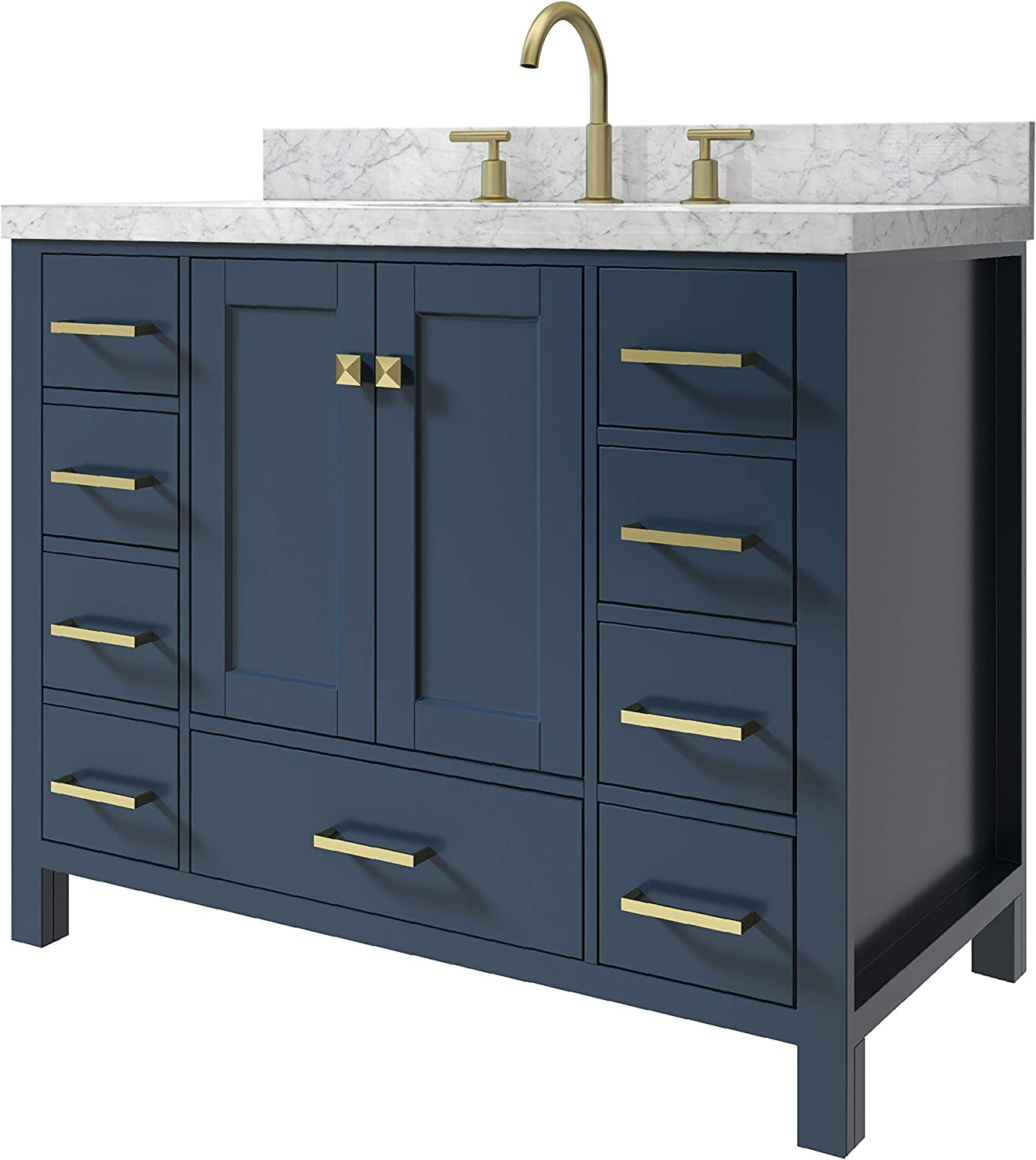 2 Soft Closing Doors 5 Full Extension Dovetail Drawers ARIEL Bathroom Vanity 43 Inch with Carrara White Marble Countertop and Oval Sink in Espresso with Backsplash No Mirror