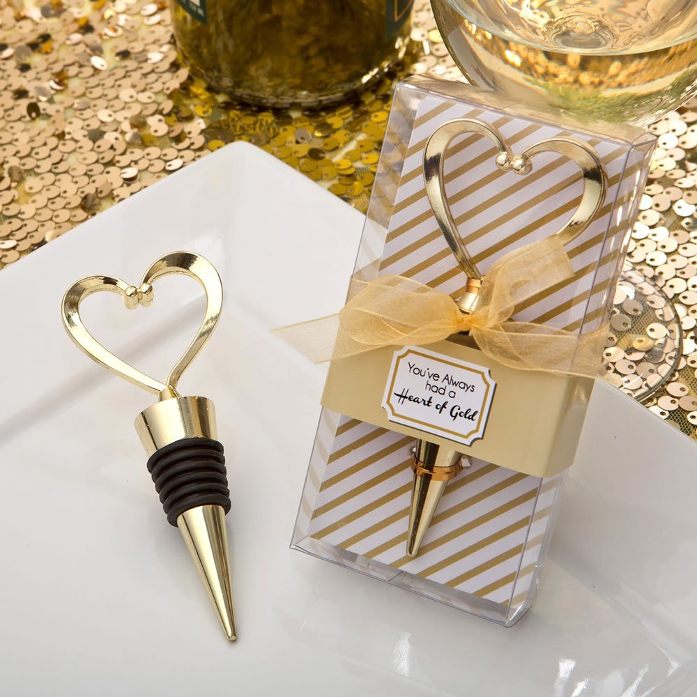 Fashioncraft Heart Wine Bottle Stopper, Decorative Beverage Cork Topper Saver, Metal with Rubber Plug, Gold Love Design Heart Shape - for Wedding Favors, Bridal Shower, Party Gifts (48 Pack)