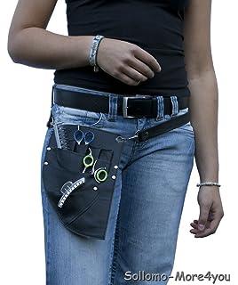 schwarz Echt Leder Werkzeugtasche mit Handyfach Farbe Friseur
