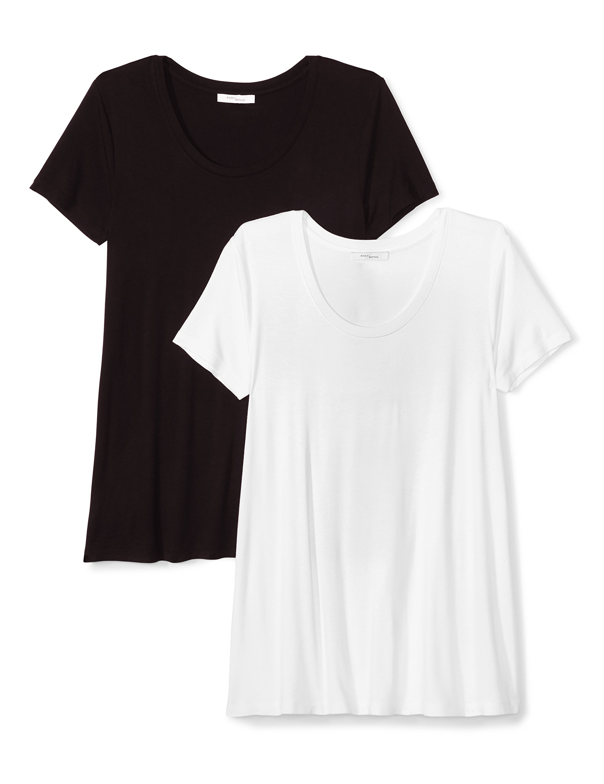 Daily Ritual Women's Jersey Short-Sleeve Scoop Neck Swing T-Shirt, 2-Pack, M, Black/White