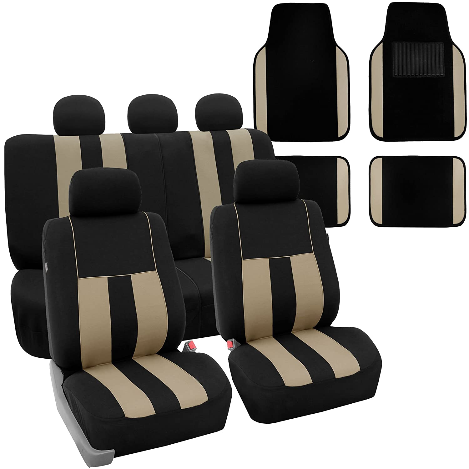 FH Group FH-FB036115 + F14407 Combo Set: Striking Striped Seat Covers with Premium Carpet Floor Mats Beige/Black Color- Fit Most Car, Truck, SUV, or Van