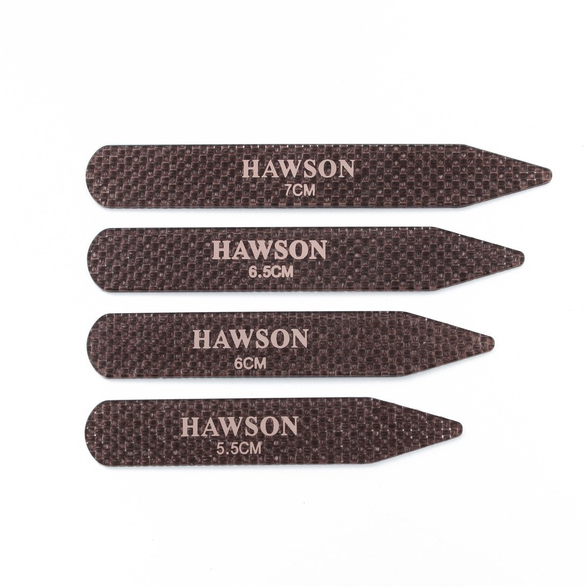 HAWSON Carbon Fiber Collar Stays Clips For Man Shirt accessories 4 Sizes (Brown)