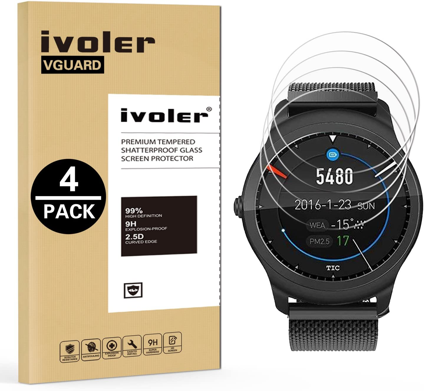 iVoler [4 Unidades] Protector de Pantalla para Ticwatch 2 ...