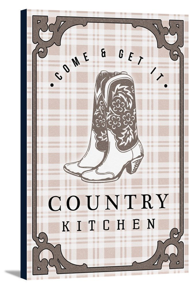 Country Kitchen - Cowboy Boots on Plaid (12x18 Gallery Wrapped Stretched Canvas)