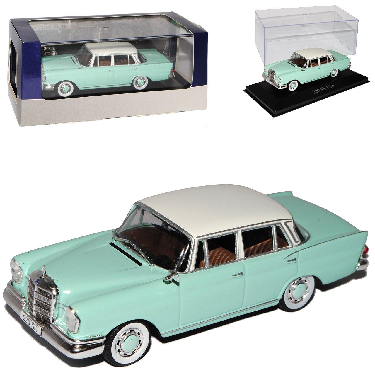 Atlas Mercedes-Benz 220SE Limousine Mint Grün W111 1959-1968 1/43 Modell Auto mit individiuellem Wunschkennzeichen