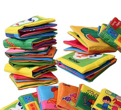 chengyida 6-Pack bebé suave libro de tela, papel sonajero suave gamuza libros infantil juguete para recién nacido de cochecito cuna cama bebé ...