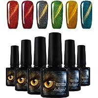 Esmalte de Uñas Semipermanente Gel Uñas UV LED Ojo de Gato 6pcs Kit Manicura y Pedicura Soak-off Efecto Brillo Lujo Galaxy (Rojo/Vino/Negro/Dorado/Azul indigo)