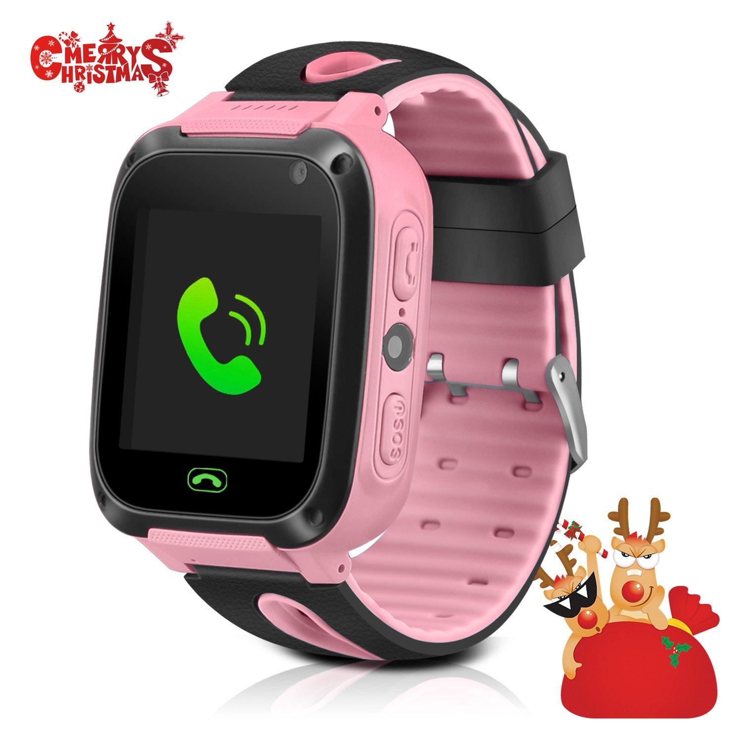 GPS Tracker Kids Smart Watch, Phone Watch for Kids, Silicone Watch Touch Screen Version Camera With SIM Anti-lost Phone Pedometer SOS Camera Smart Watch Bracelet Children Girls Boys Gifts