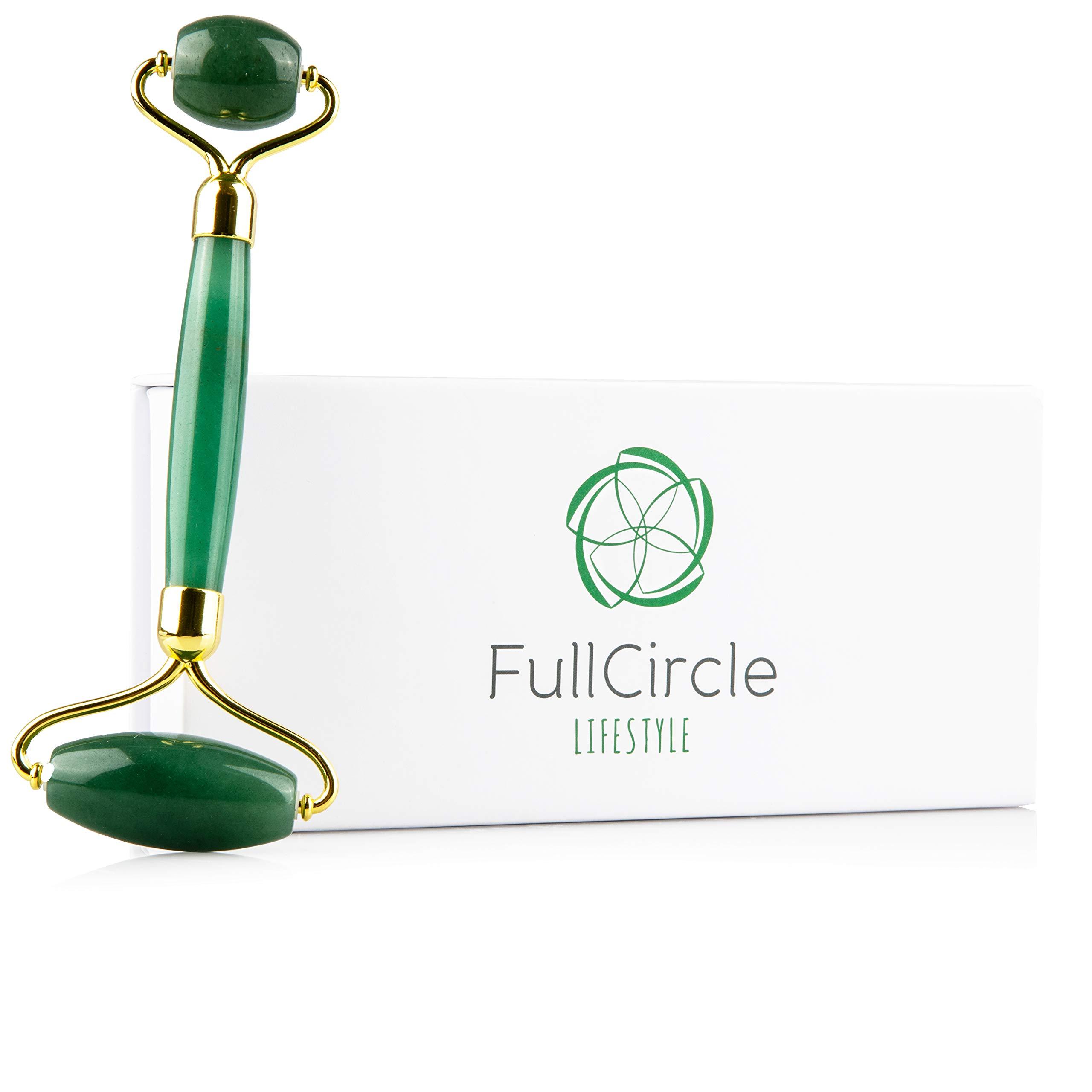 Jade Roller For Face By FullCircle Lifestyle - No Squeak & Built To Last 100% Natural Jade Face Roller Massager
