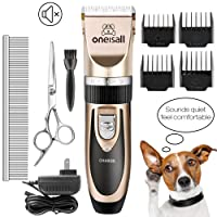 Dog Shaver Cllippers Low noise Oneisall Rechargeable Cordless Electric Queit Hair Clippers Set for Dog Cat (Gold)