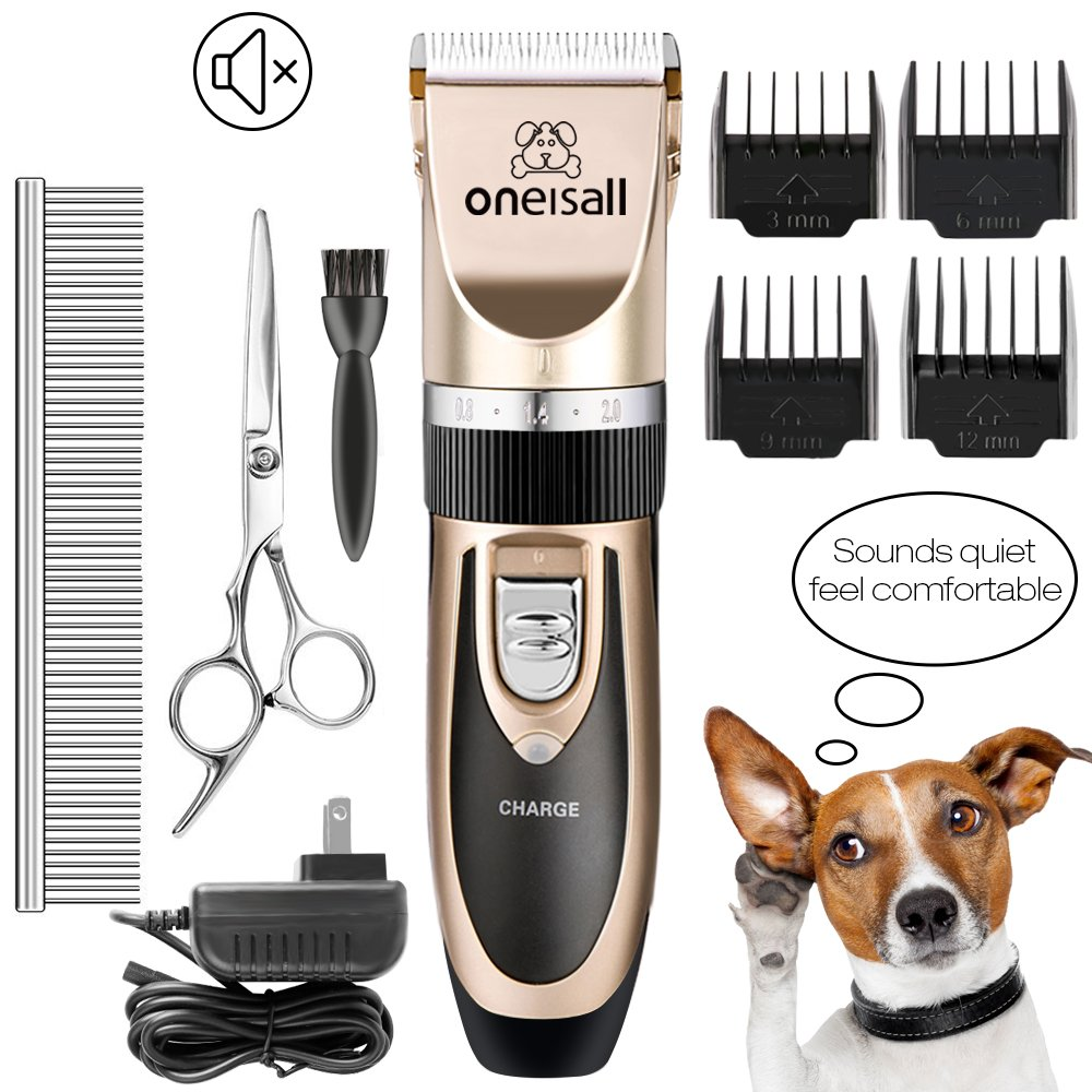 oneisall Dog Shaver Cllippers Low noise Rechargeable Cordless Electric Queit Hair Clippers Set for Dog Cat