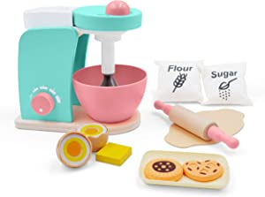 Wooden Kitchen Toy Bake-Cookie Mixer Set(14 pcs)- Interactive Early Learning Toy, Exclusive Egg, Rolling Pin and Cookie Set - Fun and Colorful for Girls and Boys