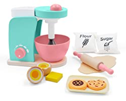 Wooden-Kitchen-Accessories-Toy-Mixer Bake Cookie Set(14 pcs)- Interactive Early Learning Toy, Exclusive Egg, Rolling Pin and