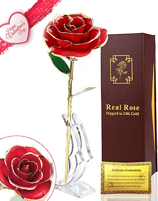 24k Gold Plated Rose Flower Anniversary Girlfriend Wife Romantic Gift Box Bag