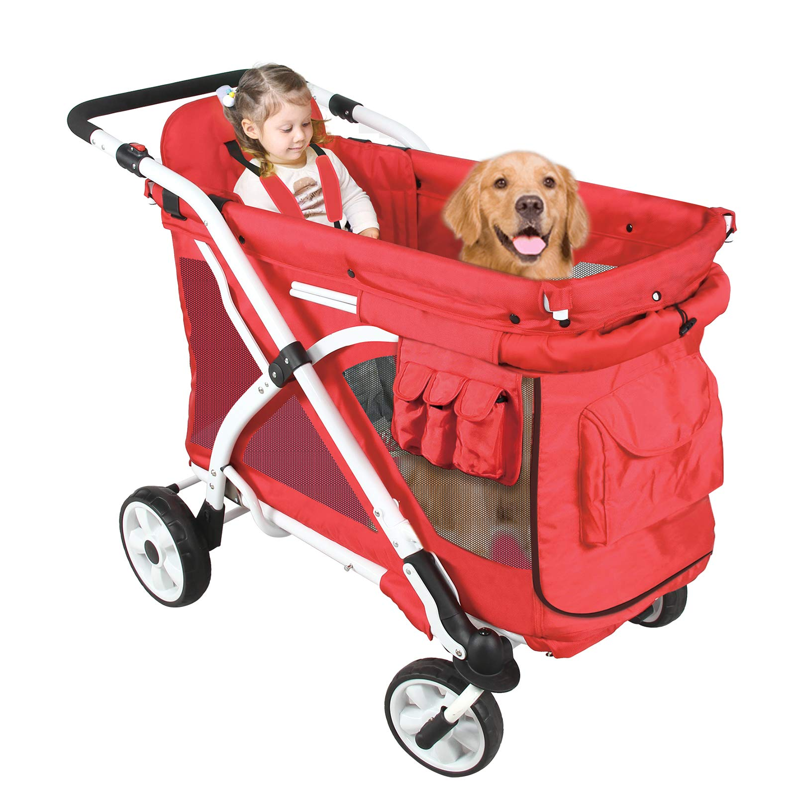 Familidoo Multi-Purpose 6 in 1 Large Twin Size Toddler Baby Folding Stroller Chariot Wagon, Red by FAMILIDOO (Image #4)