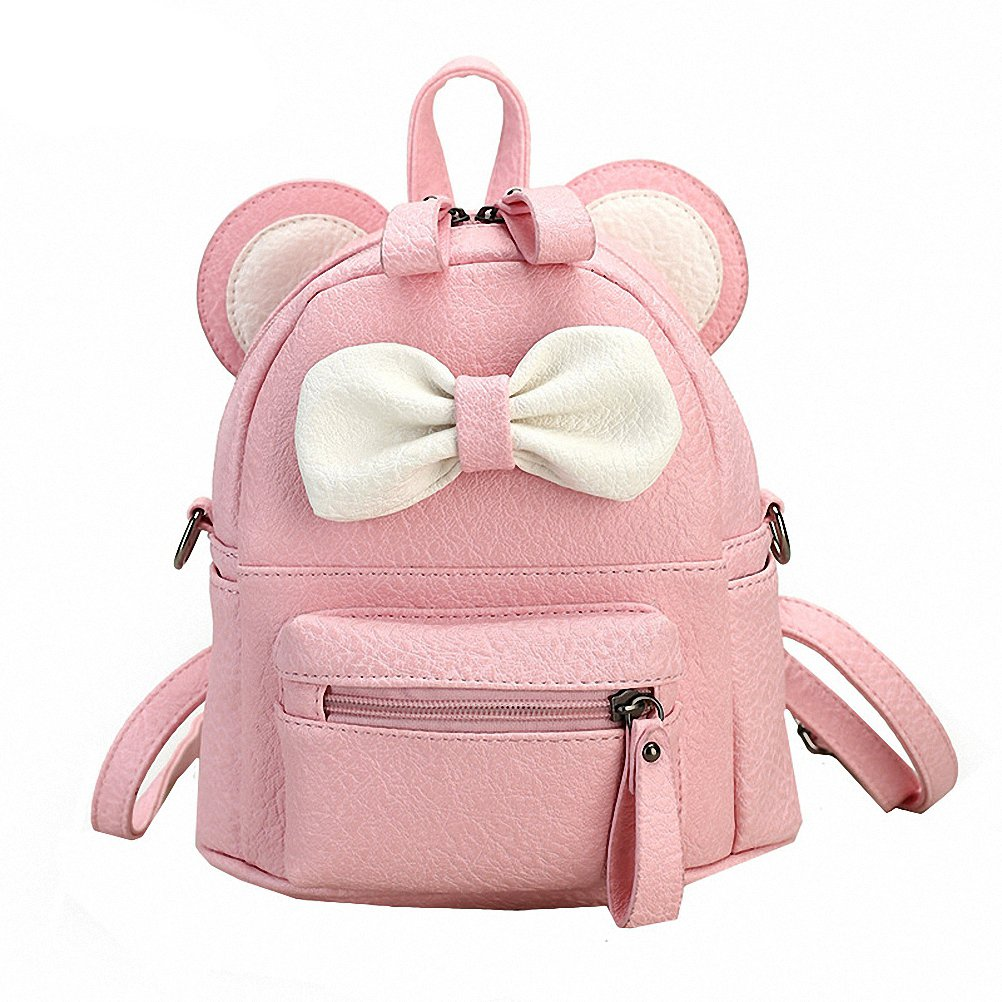 5e4ce6eba1 Amazon.com  Tiamitit Candy Color Mini Cute Mouse Ear Bag Women Leather  Backpack Pink  Clothing