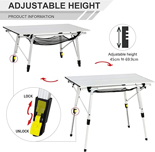 EVER ADVANCED Table de Camping Pliante Portable avec Pieds en Aluminium Hauteur R/églable Enroulable Table en Maille Taille 89,9 x 53 cm