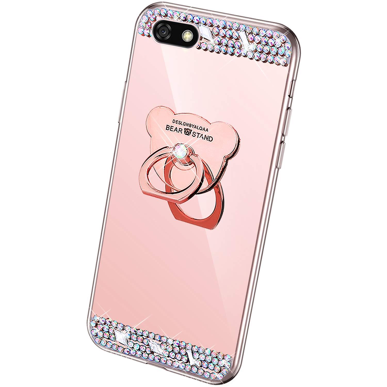 QPOLLY Cover Specchio Compatibile con Huawei Y5 2018 con Anello Brillantini Bling Glitter Strass Diamante Design Slim Morbido Silicone TPU Gel Gomma Bumper Protettiva Custodia,Oro