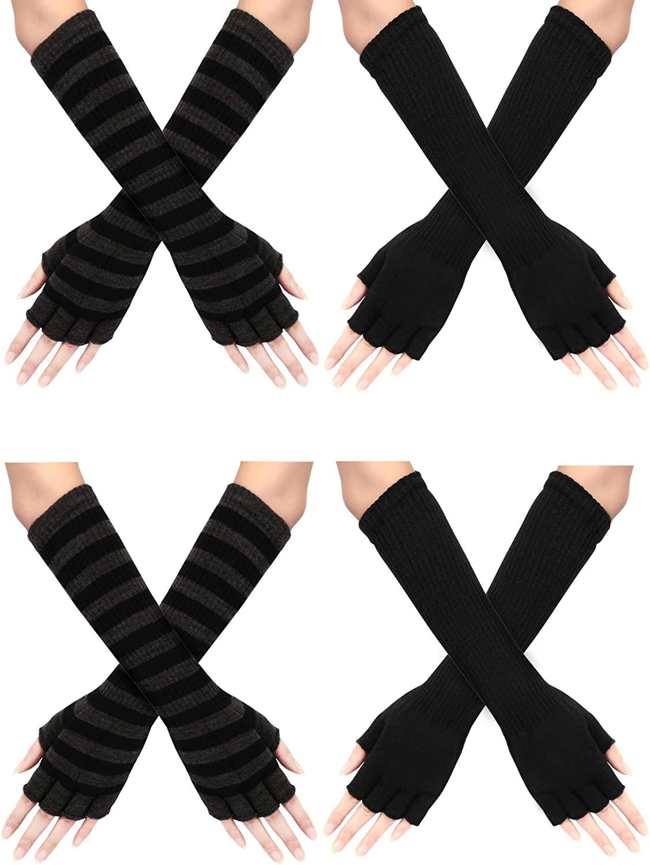 SATINIOR 4 Paar Winter Lange Fingerlose Handschuhe Ellenbogen L/änge Handschuhe Armw/ärmer f/ür Frauen