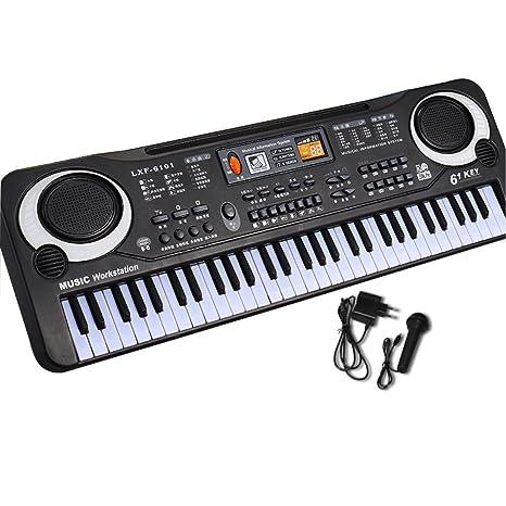 KYOKIM Teclado De Simulación Multifuncional para Niños 61 Teclas Teclado De Piano Electrónico Mediano con Micrófono