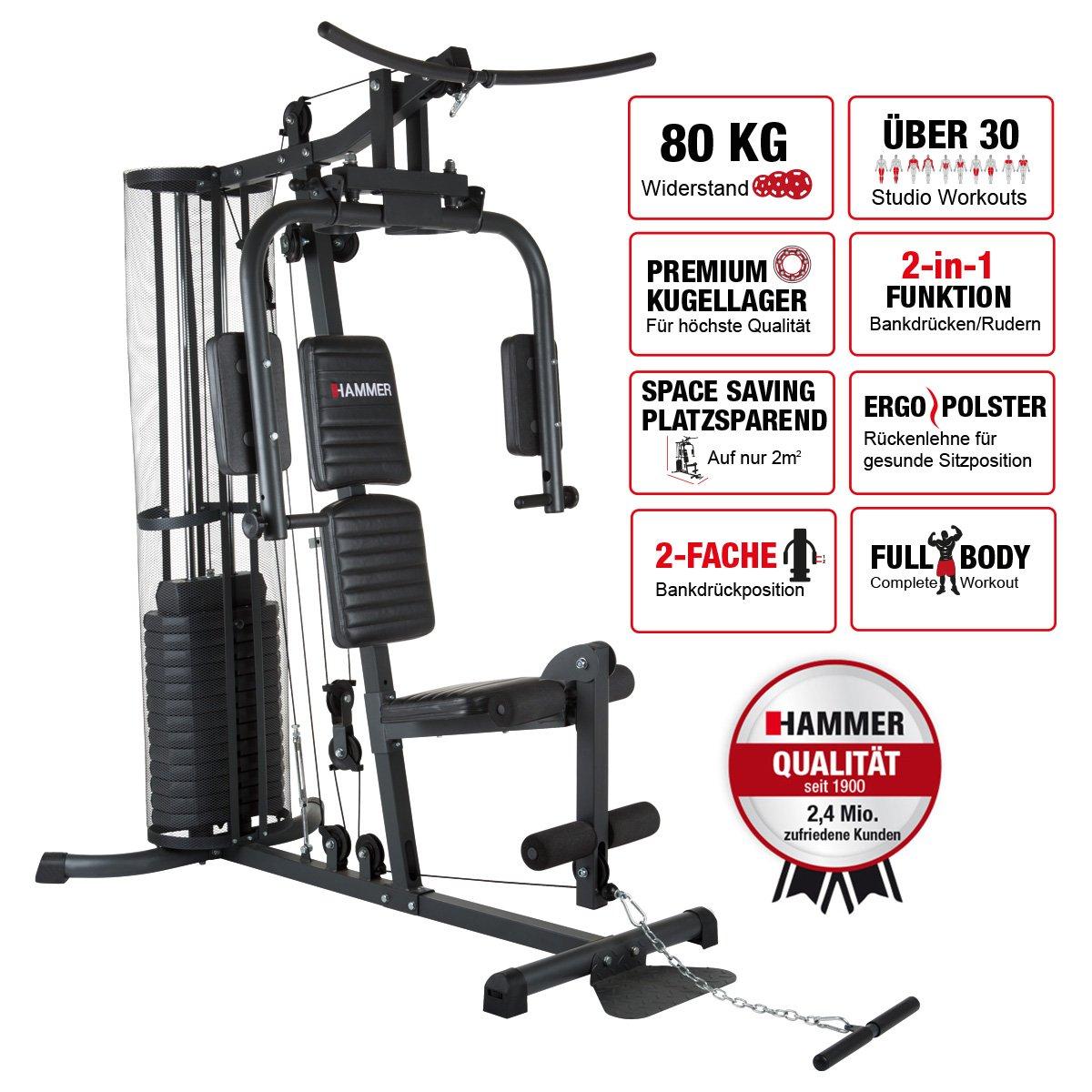 Hammer - Estación de fuerza premium, más de 30 posibilidades de ejercicio para hombros, pecho, espalda, piernas, abdomen, brazos: Amazon.es: Deportes y aire ...