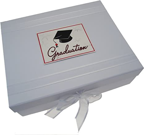 white cotton cards GRD2X - Caja para guardar recuerdos de la graduación (tamaño grande), diseño con texto