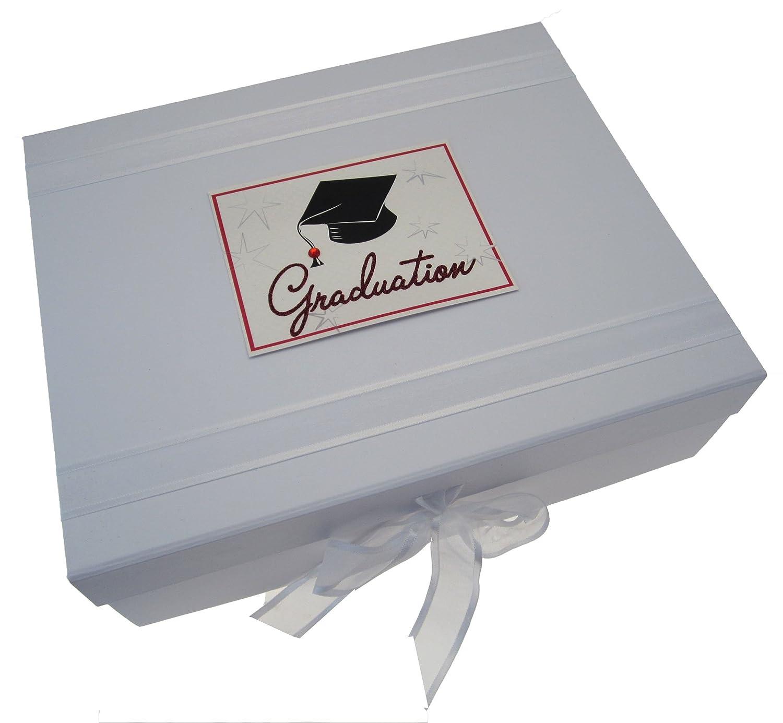"""white cotton cards GRD2X - Caja para guardar recuerdos de la graduación (tamaño grande), diseño con texto""""Graduation"""" y birrete"""