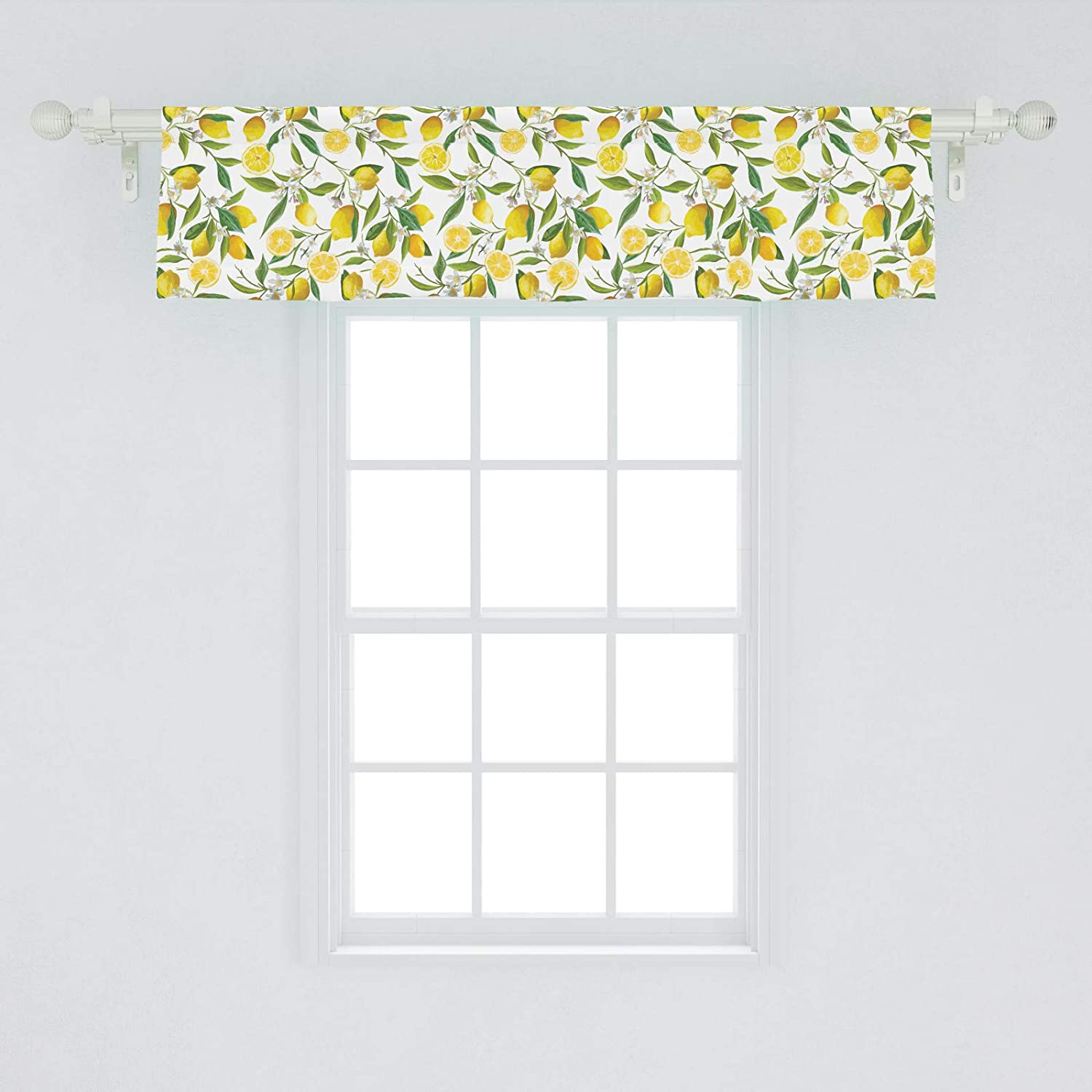 """Ambesonne Nature Window Valance, Exotic Lemon Tree Branches Yummy Delicious Kitchen Gardening Design, Curtain Valance for Kitchen Bedroom Decor with Rod Pocket, 54"""" X 12"""", Fern Green"""
