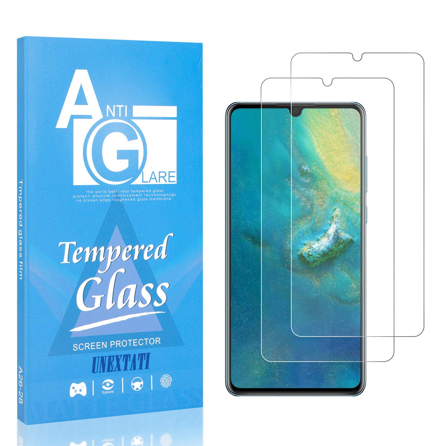 2 Pack Screen Protector for P30 9H Hardness HD Clear Tempered Glass Film UNEXTATI 3D Touch DoubleDefence Technology