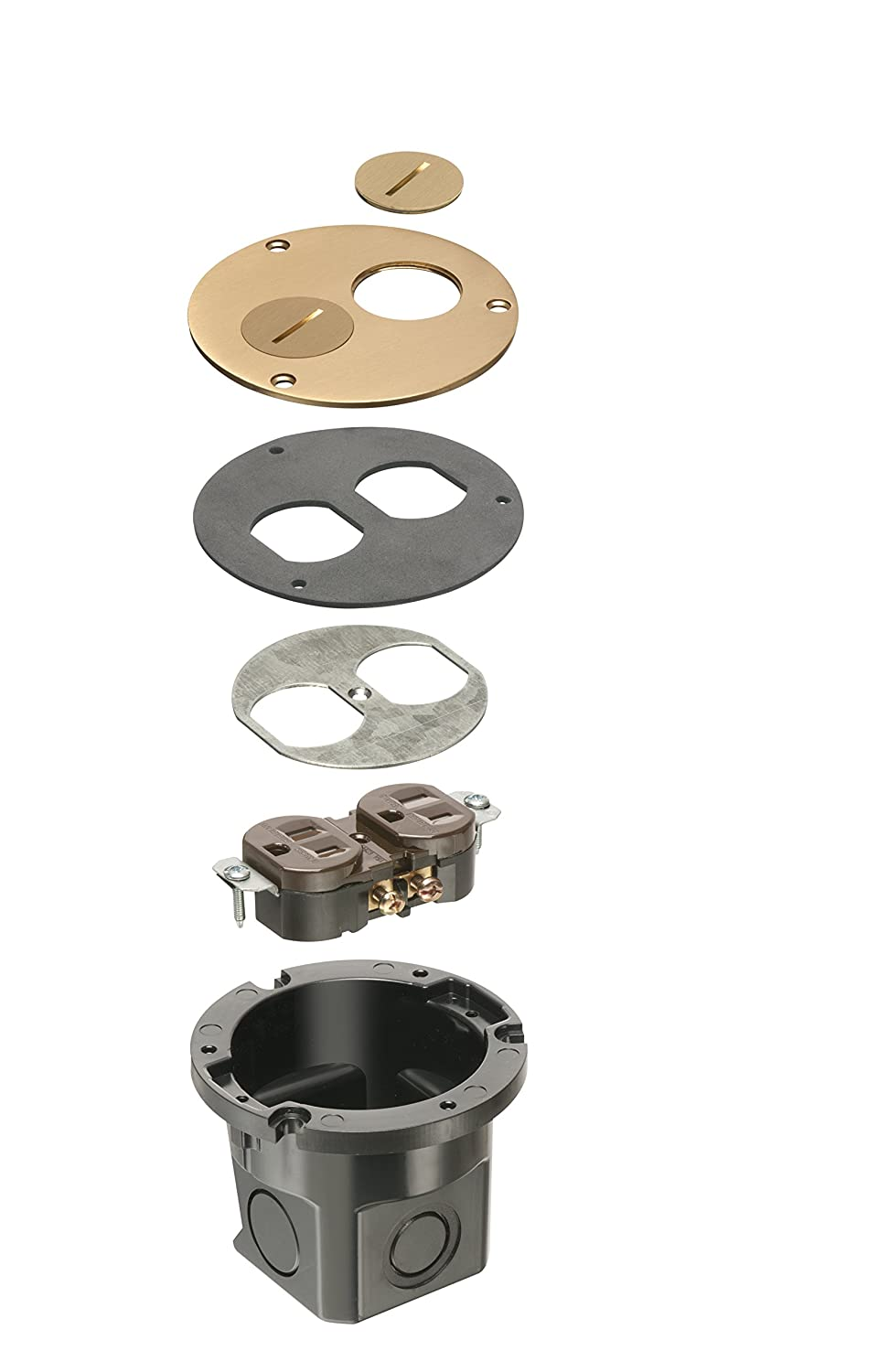 for Installed Floors Metallic Brass 1-Gang Arlington Industries Arlington FLB3520MB-1 Round Cut Box Kit Cover and Threaded Plugs 1-Pack
