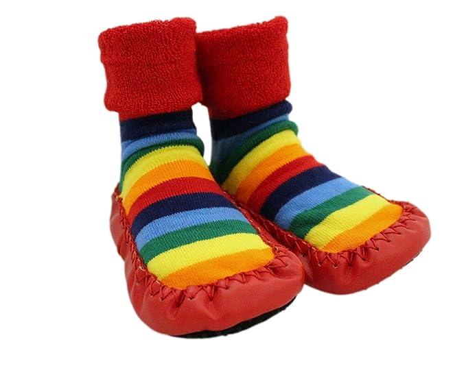 reunirse rebajas outlet venta barata ee. Zapatillas de andar por casa para bebé con calcetines con estampado de  estrellas y arco iris. Para niños de 1 a 3 años