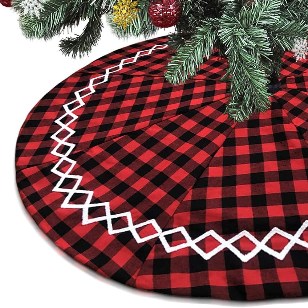 Check Xmas Tree Skirt Buffalo Plaid Burlap Christmas Tree Skirt Mat for Christmas Decorations 48 Inch