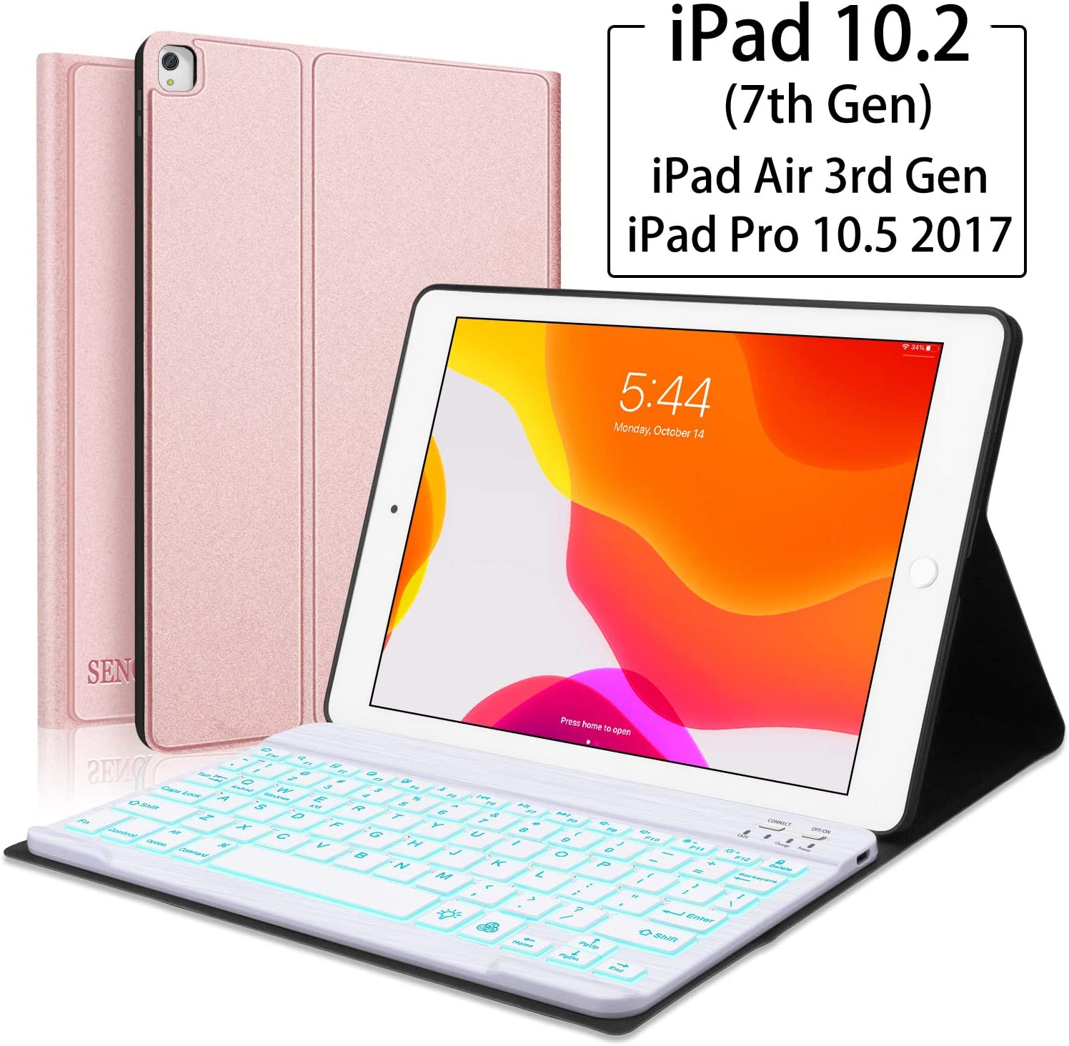 "iPad Keyboard Case for iPad 10.2(7th Generation)- iPad Pro 10.5 (Air 3) - 7 Colors Backlight, Magnetically Detachable Wireless Keyboard - Folio Cover for New iPad 10.2"" Inch, Rose gold"