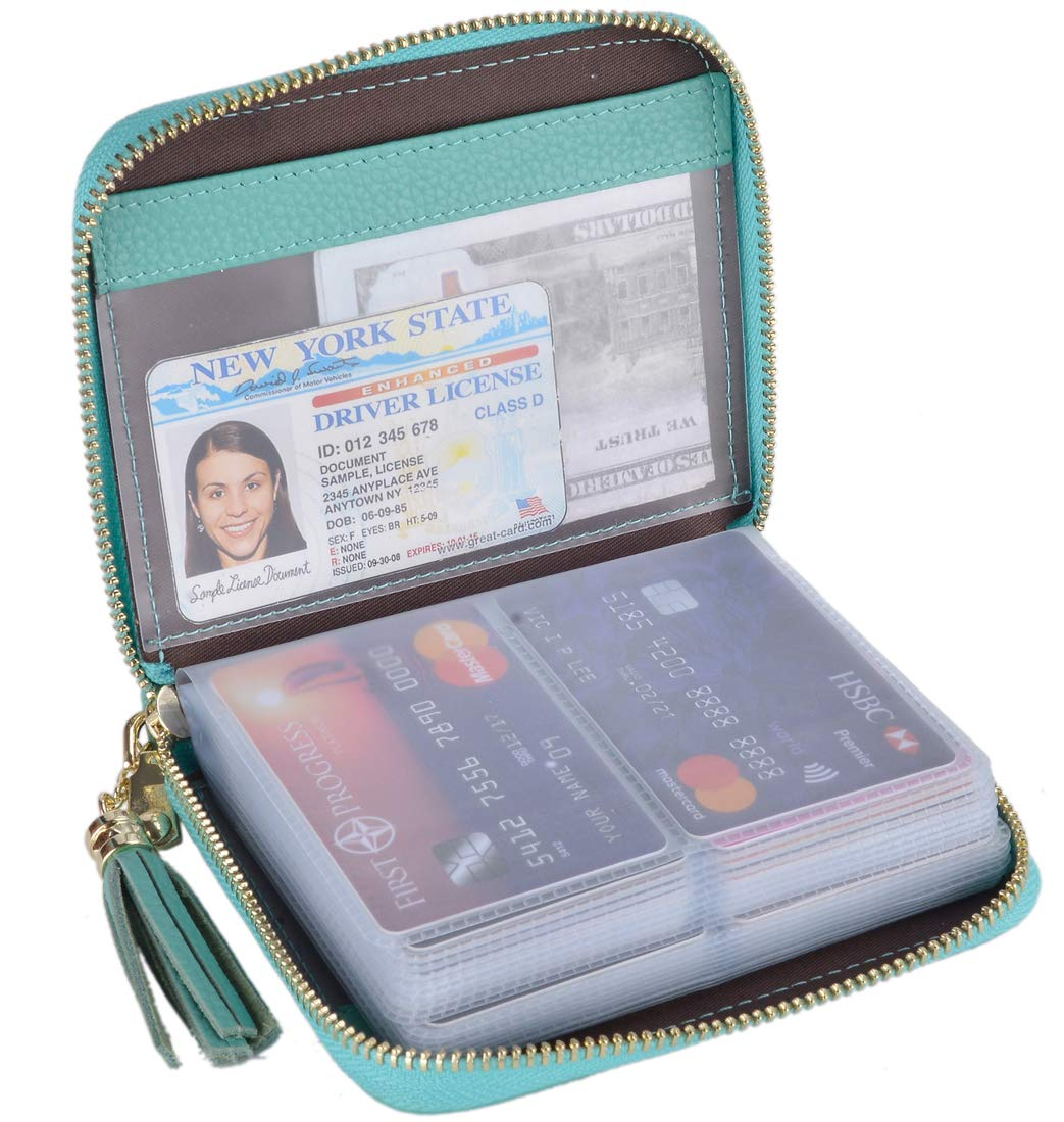 Easyoulife Womens Credit Card Holder Wallet Zip Leather Card Case RFID Blocking (Teal) by Easyoulife