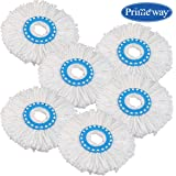 Primeway Polyester Microfibre Mop Head Refill, Disc Dia. 16 cm, 6 Pieces Set, White on Blue Ring