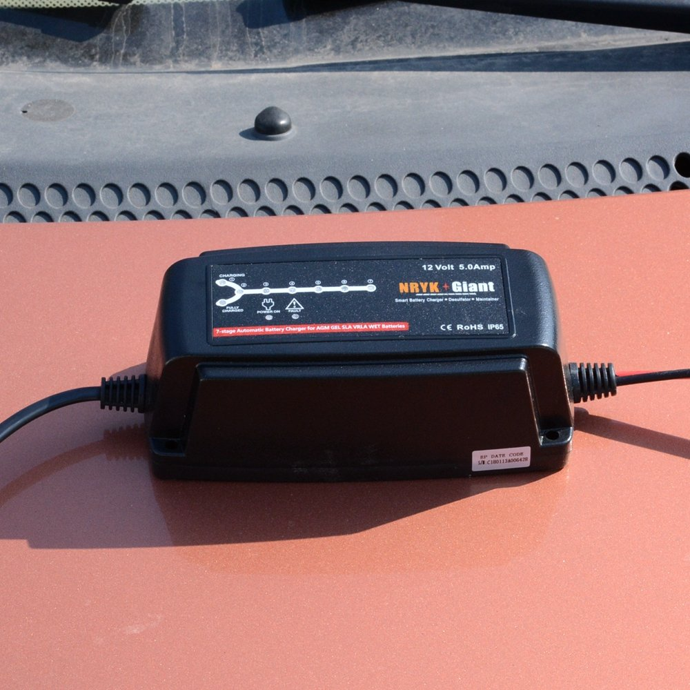 12 Volt 5 Amp 7-stage Car Battery Charger Maintainer for 20-120AH AGM GEL Battery by NRYK GIANT (Image #3)