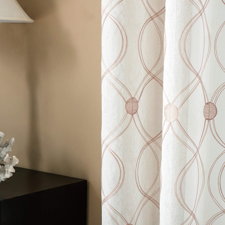 HxB Topfinel Voile Vorh/änge mit Stickerei Wellen-Mustern Transparente Gardinen Dekoschal mit /Ösen f/ür Wohnzimmer Schlafzimmer 2er Set je 160x140cm Braun