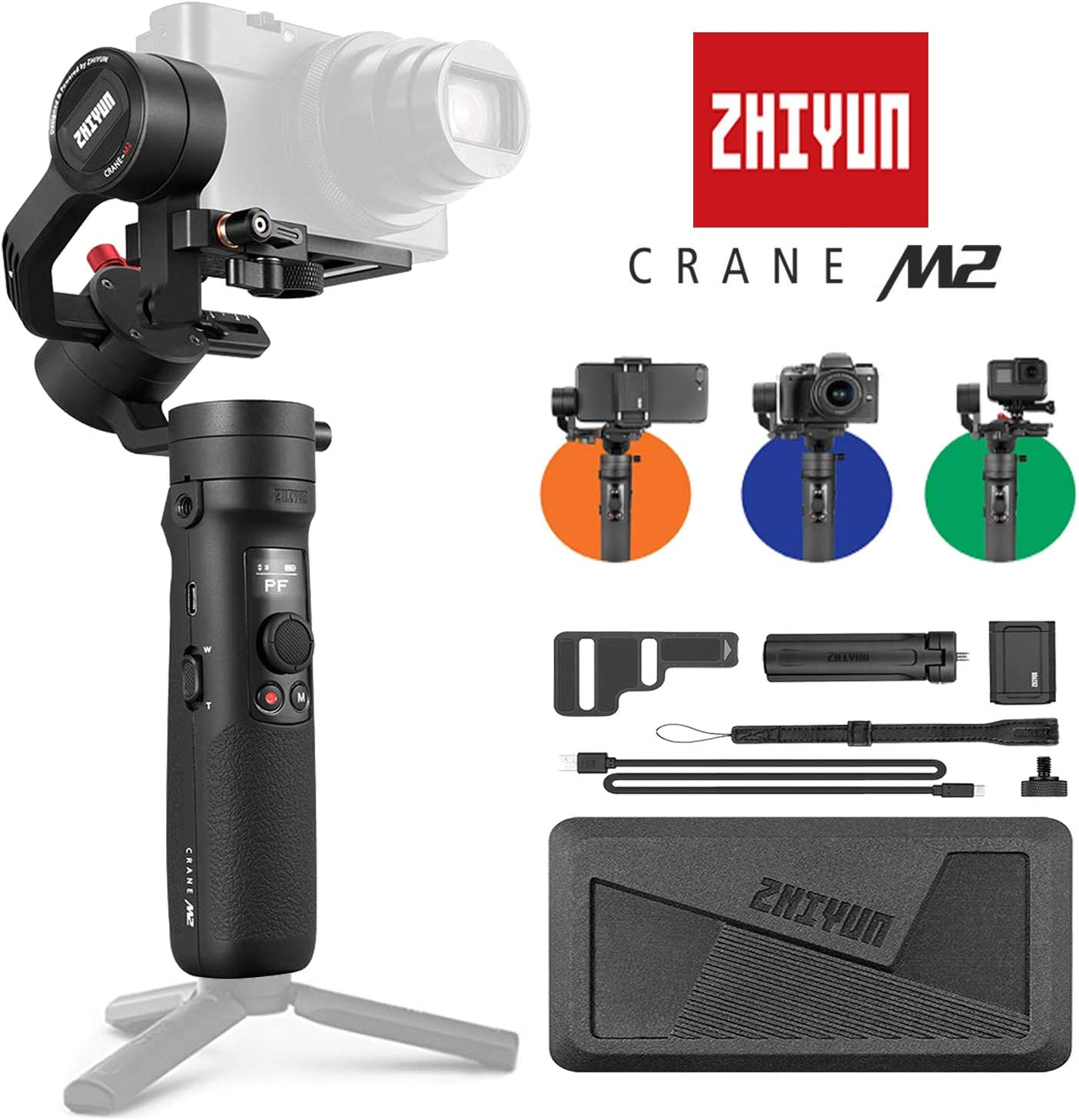 Zhiyun Crane-M2 3-Axis Handheld Gimbal Stabilizer Compatible with Sony 6400 GoPro Hero 7 iPhone X Max etc Sport Action Camera and Smartphones 720g Max Payload Mirrorless Digital Camera