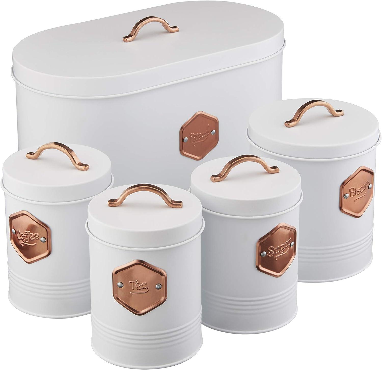 Heart of Home Retro Metal Tea Coffee Sugar Storage Canisters Jar Set of 3 Tins