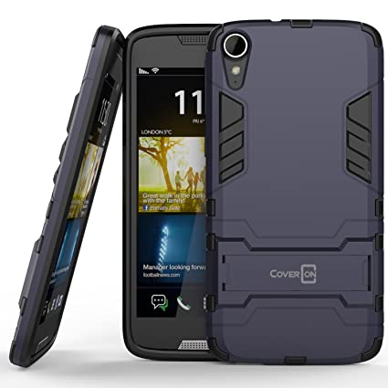 detailed look 5d6dc 0a80c HTC Desire 828 Case, CoverON [Shadow Armor Series] Hard Slim Hybrid  Kickstand Phone Cover Case for HTC Desire 828 - Gray (Navy) & Black